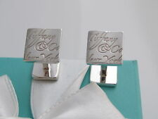 Auth Tiffany & Co Silver Notes Cufflinks Pouch Included