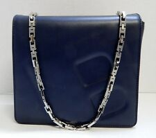 Bally Navy Blue Leather Silver Chain Shoulder Bag Italy