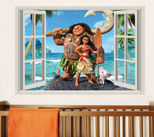 3D false window Moana wallpaper Moana and maui heihei pua wall decal kid sticker