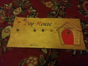 Vintage 1958 In The Dog House Wood Wall Plaque 5 Dogs