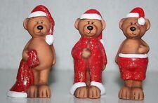 Weihnachtsbär 3erSet Bären 9,5 cm h stehend Terracotta Samt Weihnachten Bärfigur