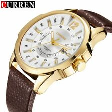 Curren Fashion Analog Date Quartz Wristwatches Men's Sport Watch Leather Band