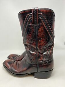 Vintage LUCCHESE SAN ANTONIO GOAT LEATHER CHERRY WESTERN Mens BOOTS 10 B 1350ZZ