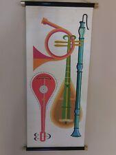 Vtg TOM TRU Silkscreen Scroll Tapestry MCM Wall Art Linen Music Robert Bushong
