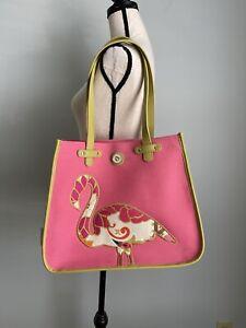 Spartina 449 Pink Flamingo Carson Cottage Beach Bag Canvas