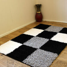 LARGE MODERN THICK 5CM HIGH PILE BLACK GREY CREAM NON SHED SHAGGY RUGS 160x230cm