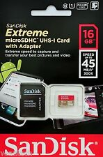 Sandisk Extreme 16gb MicroSD sdhc uhs-1 u1 16gb MicroSD Carte & Adaptateur sd * OVP *