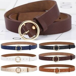 Women Classic Belt O-Ring Leather Metal Buckle Waistband Casual Dress Jeans