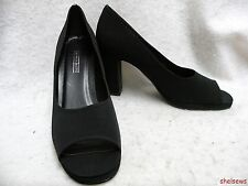 Amanda Smith Black Open Toe Micro Fiber Pumps 10M Try On Wear Only New