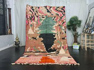 "Boujaad Moroccan Handmade Berber Rug 5'2""x8'5"" Abstract Brown Pink Wool Carpet"