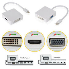 3 in 1 Mini Display Port DP Thunderbolt to DVI VGA HDMI Adapter Cable Fr MacBook