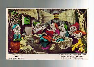 Disney Real Photo Snow White 7 Dwarves Valentine & Sons Mint Vintage Postcard