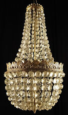 Antique french empire style bronze and glass chandelier Circa 1950