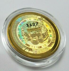 2013 Brass Lealana Gold Hologram 0.1 Bitcoin Not Loaded Coin RARE like Casascius
