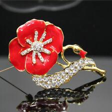 Red Enamel Poppy Badges Brooch