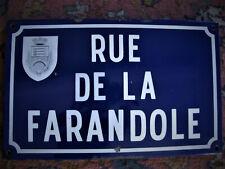 Plaque Email Vtg RUE de LA FARANDOLE Auth. French Blue Enamel Street Sign Plate