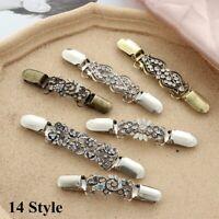 Damenmode Retro Elegante Pullover Schal Schnalle Kleidung Pin Silber Kragen