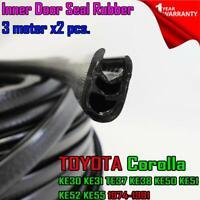 For Toyota Corolla KE38 KE50 KE51 KE52 KE55 INNER DOOR SEAL RUBBER BLACK 3 M.x2