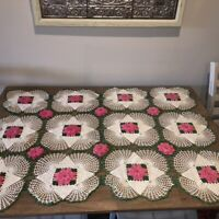 "Vintage Mid Century Hand Crocheted Tablecloth 3D Pink Roses on Ivory 35"" x 49"""