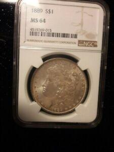 1889 Morgan Silver Dollar Genuine Eagle Edge Rim Toning NGC MS 64 90% AR