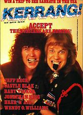 Kerrang! #117 Jeff Beck Castle Blak Jonathan King Wendy O. Williams