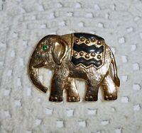 SFJ Signed Gold Tone Black Enamel Green Rhinestone Eye Elephant Brooch Pin   A88