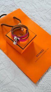Hermes O'Kelly Double Tour Leather Bracelet T3 Rose Mexico Palladium HW Used