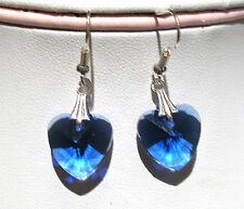 'AAA' GRADE BLUE CRYSTAL GLASS HEART EARRINGS SILVER PLATED EARHOOKS BNWOT
