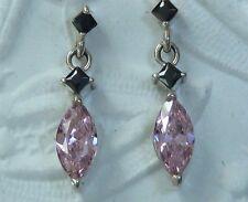 X 4mm Pink Cubic Zirconia, Konder #895 Sterling Dangle Earrings, 2mm Black & 8
