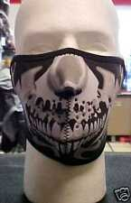 #55 Biker Cold Weather Gear-Half Face Mask-Silver Skull