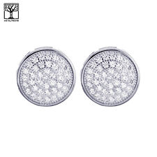 Men's Fashion Sterling Silver Bling Fully CZ Round Screw Back Earrings SHS 637 S