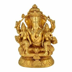 "Brass Ganesha with Riddhi Siddhi Sitting Idol Statue Figurine 12"""