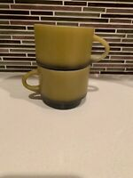 2 Vintage Anchor Hocking Fire King Ware Coffee Cups Mugs Green Black