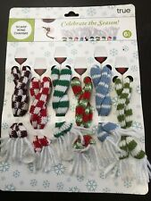 True Fabrications Holiday Scarf Wine Glass Charms / Drink Markers - Set of 6