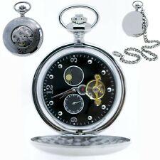 Mechanical Pocket Watch Tourbillon Silver Polish Sun Moon Small Second Chain 42A