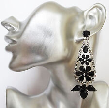 Stunning Long Diamante TearDrop Earrings with Jet Black and Clear Crystals