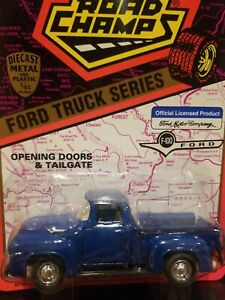 1956 Ford F100 Diecast Blue Pickup Truck 1994 Road Champs New 1:43