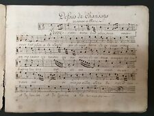 CHANSONS À BOIRE - 18th-Century Autograph Manuscript of Drinking Songs