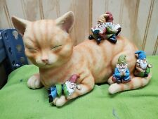 """Miniature Cat and Gnomes - """"A Relaxing Day� - A Fairy Garden Gnome"""