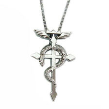 Vintage Fullmetal Alchemist Cross Necklace Pendant Sweater Chain Alloy