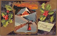 CHRISTMAS HOLIDAY WINTER HOME STOCKPORT OHIO EMBOSSED PFB POSTCARD 1914