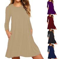 Boho Damen Langarm Rundhals Minikleid Abendkleid Tunika Kleid Lang Bluse L/P