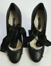 Ralph Lauren Collection Barton Calfskin Black Leather Ballet Pump 39.5b US 8.5b