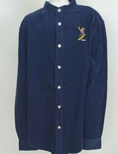 NEW Polo Ralph Lauren $59 Snowboard Bear Button Down Navy Corduroy Boys, L 14-16