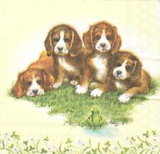 2 Serviettes en papier Chien Chiot Decoupage Paper Napkins Four Doggies