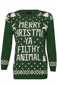 Ladies Merry Christmas Jumper Novelty Xmas  Filthy Animal