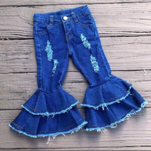 Baby Toddler Kid Girls Bell Bottom Denim Jeans Double Ruffle Flare Pants