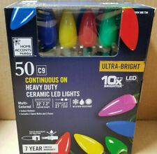 50-Light Multi-Color C9 Ceramic LED Ultra Bright String Light Set Christmas