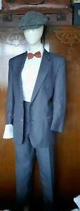 Mens Vintage Aquatite  two piece grey pin striped suit.