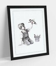 BANKSY SUPER HERO NURSE -ART FRAMED POSTER PICTURE PRINT ARTWORK- GREY